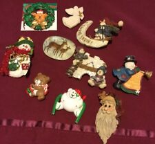 Lot Of 10 Wearable Christmas Pins Mostly Resin/plastic