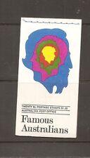 Australia Sc # 454a-455a-456a-457a Famous Australians.Complete Booklet . Mnh