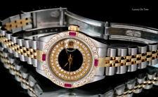 LADIES ROLEX DATEJUST QUICKSET 18K Y.GOLD&S.STEEL 26MM PAVE DIAMOND DIAL&BEZEL