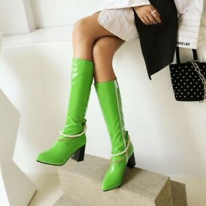 Women Pointy Toe Knee High Boots Patent Leather Party Chunky Heel Shoes Clubwear