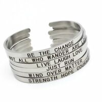 Engraved Inspirational Quotes Energy Stainless Steel Open Cuff Bangle Bracelet