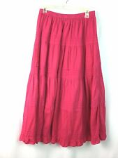 Jane Ashley Skirt Large Hot Pink Tiered Peasant Boho Skirt 100% Cotton Lined