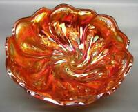 """Imperial ACANTHUS Pink Infused Marigold Carnival Glass 8"""" Round Bowl 7065"""