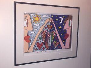 James Rizzi: original Werk LOVE IS IN THE AIR, handsigniert, gerahmt, Zertifikat