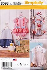 SIMPLICITY SEWING PATTERN 8098 BABY GIRL/BOY XXS-L ROMPERS SANDALS, STUFFED DUCK