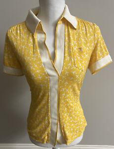 vintage dvf diane vonfurstenburg short sleeve yellow plaid cotton blouse size medium