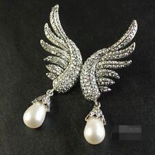 Boucles d`Oreilles Clous Extravagant Aile Perle Goutte Rétro Argent Mariage XX 3