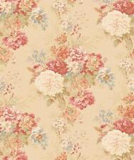 Wallpaper Victorian Vintage Look Large Floral Pink Blue Green On Beige