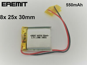 Lithium Polymer LiPo Batterie Akku 550mAh 3.7 V 1S PCB BMS 802530 6