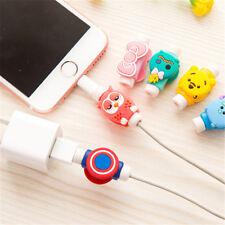 2sets 4pcs Fashion Cartoon Phone USB Data Charging Cable Wrap Cover Protector ES