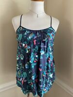 Rebecca Taylor Silk Sleeveless Top Blouse Floral Blue with Sequins Size 2