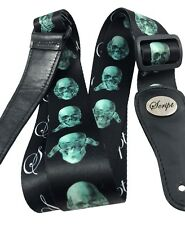 """100% Leather Ends SCRIPT Guitar Strap """"The 3 Evils""""  Electric, Acoustic, Bass"""