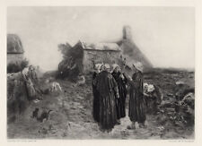 1800s Jules BRETON Etching Evening in the Hamlet of Finistere SIGNED Framed COA