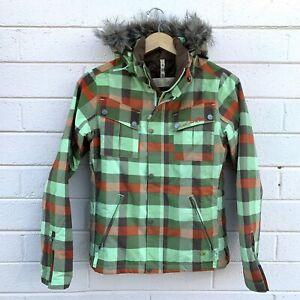 Women's Burton Insulated Snow Ski Snowboard Jacket, Size S Green/Brown/Orange
