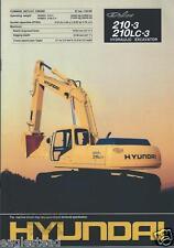 Equipment Brochure - Hyundai - Robex 210-3 210Lc-3 Excavator - c1998 (Eb325)