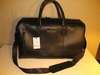 Robert Graham Signature Black Embossed Leather Weekend Travel Duffle, NWT