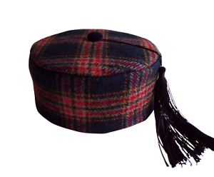 """Smoking Cap Check Wool With Tassel Quilted Lining Size 60.5cms/23-3/4"""" Handmade"""