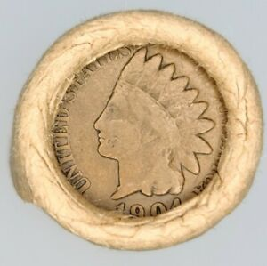 ( 1904 INDIAN HEAD  /  1914 P )  LINCOLN WHEAT USA  OBW  PENNY  ROLL.