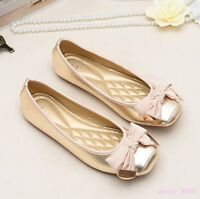 Womens Snakeskin Slip On Ballet Flat Metal Bowknot Loafers Shoes Moccasins Chic