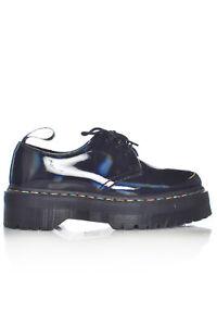 DR. MARTENS 1461 Rainbow Patent Quad Shoes Holo 9 Women's Chunk Platform Oxford