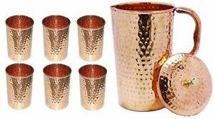 100%  Pure Copper Ayurveda Healthy Drinking Water 1 Jug & 6 Glass Set Tumbler