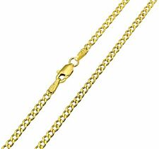 14K Real Yellow Gold 2.3mm Concave Curb Cuban Hollow Chain Necklace - 24 Inches