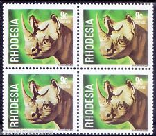 Rhodesia 1978 MNH Blk of 4, Wild Animals, Rhino