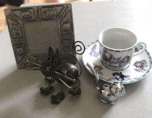 Bundle of Cat Lover Things, Cat Sculpture, Chrome Ring Holder, Cup Saucer, Frame