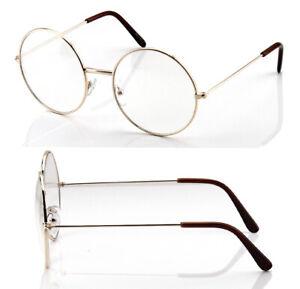 Men Women Fashion Round Clear Lens Eye Glasses Metal Frame Large Geek Big Retro