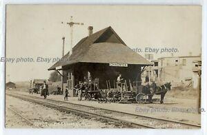 Old railroad train depot, wagon Chadwick, Illinois, history; photo postcard RPPC