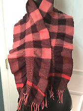 BURBERRY WOMEN'S RUCHED CORAL SIGNATURE CHECK CASHMERE SCARF!!!