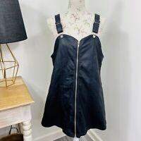 Unif Womens Pinafore Dress Black Faux Vegan Leather Goth Emo Size L fit 14