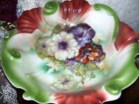 """ANTIQUE DISH WITH FLORAL DESIGN 10 3/4"""""""
