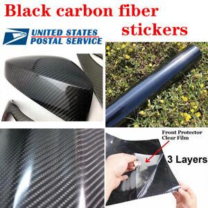 "5D Ultra Glossy Black Carbon Fiber Vinyl Wrap Sticker Decal 4.7x60"" US Fast Ship"