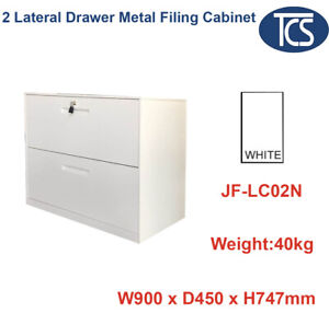 TCS WHITE LATERAL 2 DRAWER METAL FILING CABINET HOME OFFICE FURNITURE STORAGE
