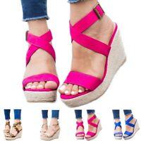 Women Summer Sandals Platform Wedge Heels Open Toe Cross Strap Buckle Beach Shoe