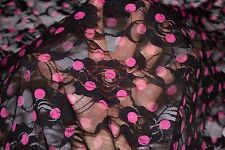 Black Pink Floral Stretch Lace #40 Nylon Lycra Spandex Apparel Fabric BTY