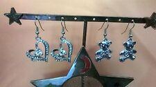 Mom & Daughter Earring Set! 2 Pairs Heart & Teddy Bears! Fabulous Gift! (J)
