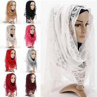 Stylish Women's Lace Flower Muslim Hijab Shawls Long Scarf Scarves Stole Wraps