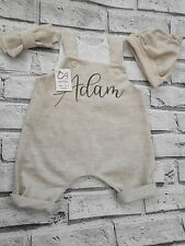 Personalised Custom. Natural baby clothes, romper, hat, headband. Oatmeal. Name.