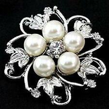 Silver Colour Faux Pearl Brooch with Rhinestones