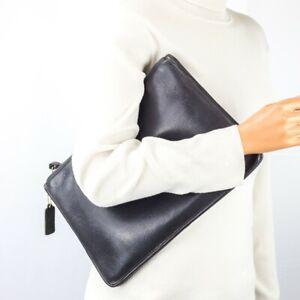 COACH NYC Vintage Black Leather Portfolio Clutch RARE!