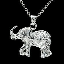 925 Silver huge 3D Hollow Cute Elephant Necklace Pendant Jewelry