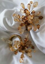 More details for 6x vintage jewelled beaded napkin rings crate & barrel amber with tarnished gold