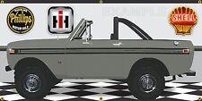 1974 INTERNATIONAL IH SCOUT II DARK GREEN GARAGE SCENE BANNER SIGN ART 2' X 4'