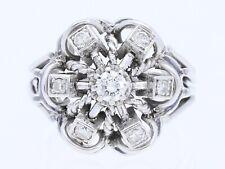 Vintage anillo 0,45 quilates brillante diamantes 585 blanco oro 14 quilates para 1960