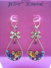 New Betsey Johnson Dangle Earrings w/Bows & Multi-Colored Stones