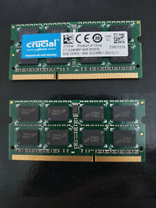 Lot de 16GB: 2x CRUCIAL 8GB CT102464BF160B.M16FN RAM PC3L DDR3L-1600 1.35v CL11