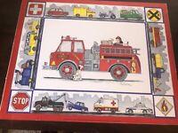 "Marnie Bishop Elmer ""Rescue Trucks"" 15.75"" X 19.75"" Vintage 1997 Poster Print"