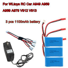 3x 1100mAh Battery+AC Charger+3in1 Cable For WLtoys RC A949 A959 A969 A979 V913